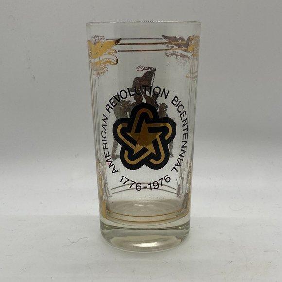1976 American Bicentennial Drinking Glass Gold